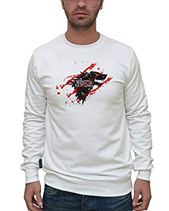 Printed White Cotton Round Neck Hoodie & Sweatshirt For Men