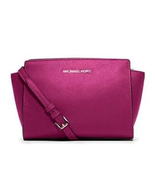 6da0c2630fa331 Michael Kors Saffiano Leather Mini Selma Crossbody Bag - Deep Pink: Handbags:  www.