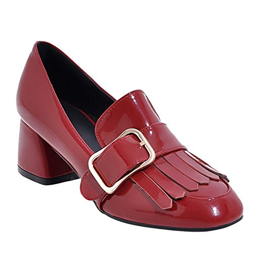 Charm Foot Womens Retro Tassels Patent Leather Buckle Chunky Pump Shoes Red IDt48JcP