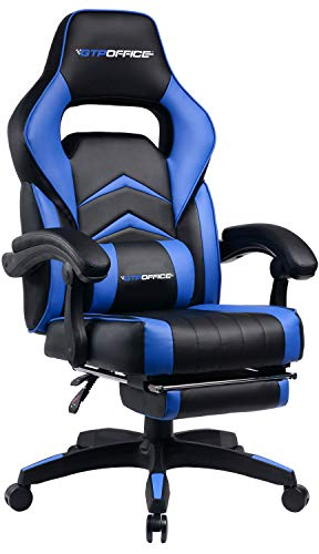 Gaming Chair Racing Style Office Swivel Computer Desk Chair Ergonomic Conference Executive Manager Work Chair PU Leather High Back Adjustable Task Chair with Lumbar and Padded Footrest ()