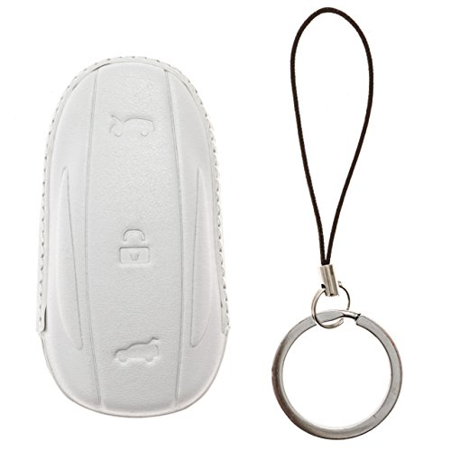 Utopicar Key fob Sleeve for Tesla Model X - Car Key case Designed for Perfect snug fit. [Genuine Leather] [Handmade] (White) (Zune Silicone Cover)