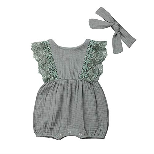 (Newborn Infant Baby Girl Lace Sleeve Linen Romper Jumpsuit Sleeveless Bodysuit Outfit with Headband Summer Clothes (Light Green, 6-12 Months))