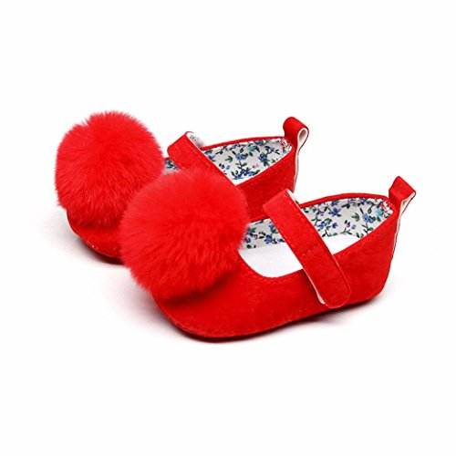 KXN Baby Toddler Girls Soft Hairball Dance Anti-Slip Lightwight Shoes (13, Red) (Velour Ball Organic)