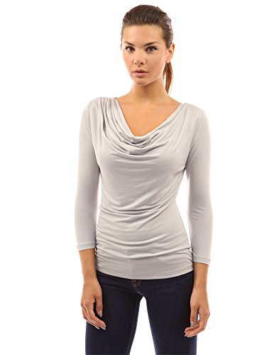 PattyBoutik Women's Cowl Neck 3/4 Sleeve Top
