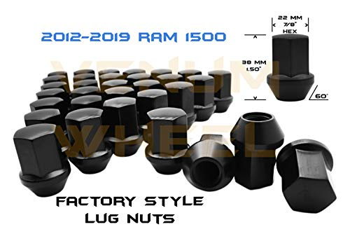 Venum wheel accessories 12-19 Ram Truck 1500 Black OEM Factory Style Black Lug Nuts M14x1.5 W/ 22MM Hex Close End 1.5