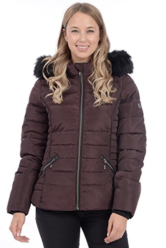 RedX Canada Women's Short Puffer Winter Coat with Faux Fur Lined Hood (Burgundy, (Leather Down Jacket)