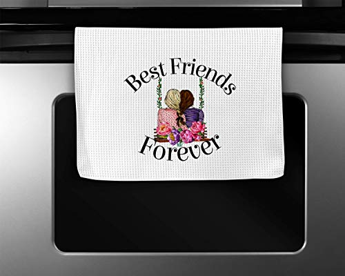Best Friends Waffle Weave Kitchen Towel Decor Watercolor Wedding Hostess Gift (Best Advertising For Realtors)