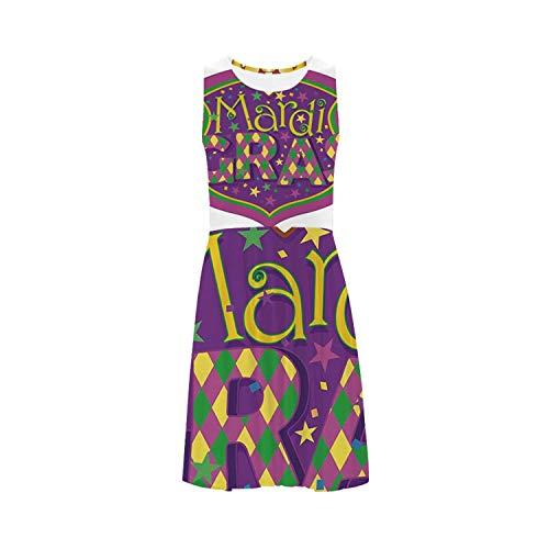 Mardi Gras Sweet Sleeveless Ice Skater Dress,for Women,XS-3XL (Mardi Gras Line Melamine Dinnerware)