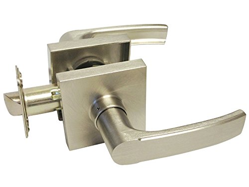 Satin Nickel Lock Door Square Plate Lever Handle Entry Privacy Passage Dummy Deadbolt 8048DC Passage Hall and Closet No Lock