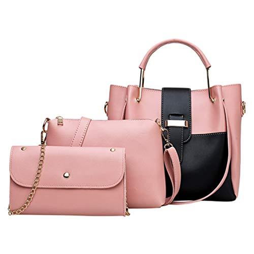Dexinx Giovani Donne Borsa a tracolla grande capacità Borsa a tracolla affascinante Borsa elegante 3 pezzi Set Pink