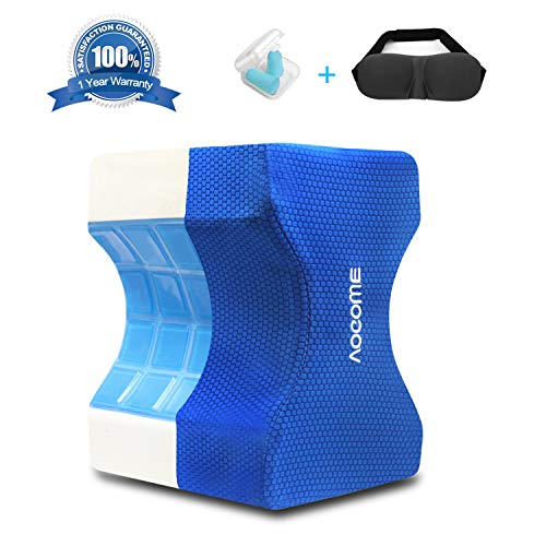 (Aocome Cooling Knee Pillow Memory Foam Orthopedic Knee Pillow with Cooling Gel for Back, Hip, Knee Support Cushion for Side Sleepers & Pregnant Women, Bonus Sleep Mask & Earplugs, with Washable Cover)