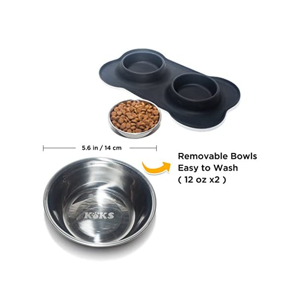 KEKS Small Dog Bowls Set of 2 Stainless Steel Bowls with Non-Skid & No Spill Silicone Stand for Small Dogs Cats Puppy & Collapsible Travel Pet Bowl 2
