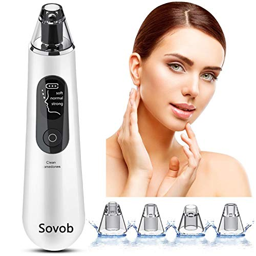 Sovob Blackhead Remover Pore Vacuum Cleaner -Upgraded Strong Suction USB Rechargeable Electric Blackheads Removal Tool Pore Cleaner Comedone Acne Extractor with Large LED Screen Unisex (White)
