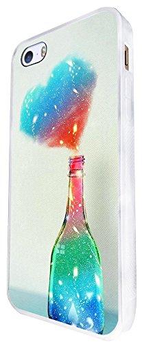 1408 - Cool Fun Trendy Cute Kawaii Valentines Day Heart Love Quote Love Colourful Bottle Design iphone SE - 2016 Coque Fashion Trend Case Coque Protection Cover plastique et métal - Blanc