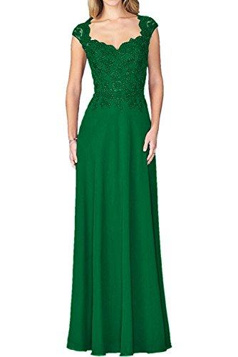 La mia Fuer Chiffon Formalkleider Lang Braut 2018 Abendkleider Spitze Kurzarm Grün Hochzeits Brautmutterkleider rrnxOqdYw8