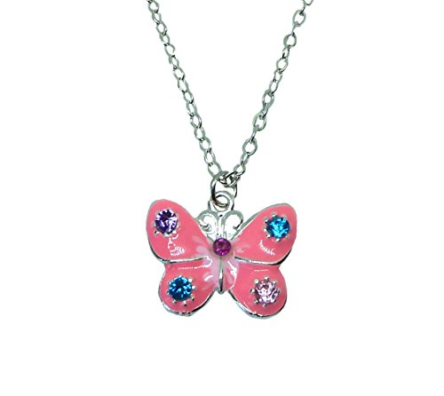 (Mirabella BellaMira Girl's Tooth Fairy Necklace Charm Set - Flower Girl Locket - Fine Jewellery Present Gift Boxed (Pink Butterfly Diamante Necklace))