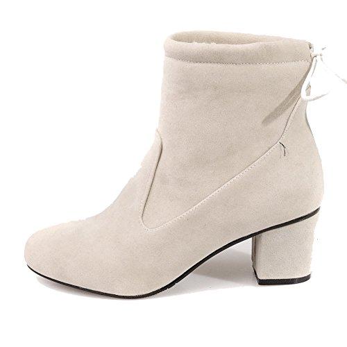 Allhqfashion Chaussures À Lacets Bout Rond Fermeture Éclair Orteils Chaton Imitation Bottes Basses En Daim, Beige, 35