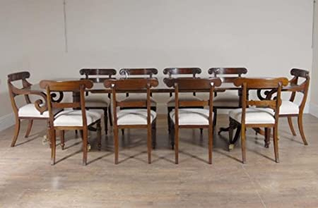 10 Ft English Regency Dining Table Set 10 Chairs Chair Amazon Co Uk Kitchen Home