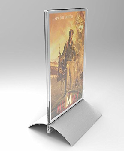 - FixtureDisplays ONE Unit 4 x 6 Acrylic Sign Holder with Aluminum Base, Double-Sided, Bottom Insert - Clear19042 19042