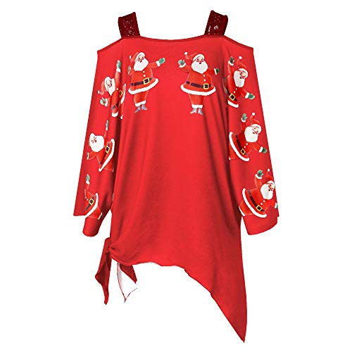 Christmas T-Shirt Women Christmas Santa Claus Print Lace Cold Shoulder Irregular top Red (Plum Red Linen)