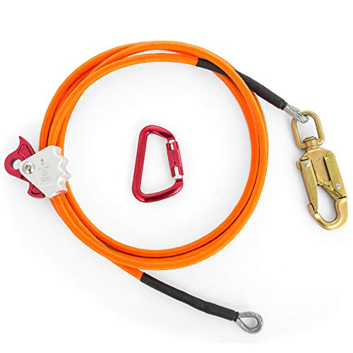 Happybuy Steel Wire Core Flip Line Kit 1/2'' X 12' Wire Core Flipline with Triple Lock Carabiner and Steel Swivel Snap Wire Core Flipline System for Arborists Climbers Tree Climbers (1/2'' X 12') by Happybuy (Image #4)