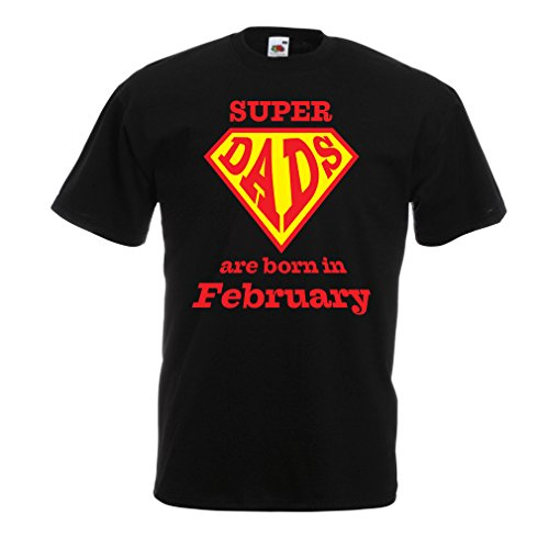lepni.me T Shirts For Men Super Dads Are Born In February Birthday t Shirts Gifts (Small Black Multi Color)