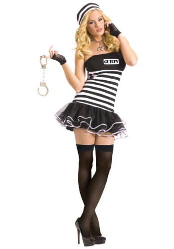 Funworld Womens Prisoner Guilty Conscience Theme Party Fancy Halloween Costume, Medium/Large (Guilty Conscience Costumes)