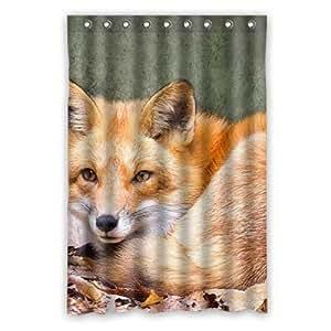 Custom cute fox animal Shower Curtain Polyester 120cm x 183cm