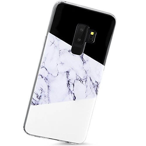 Galaxy S9 Plus Case,Samsung Glaxy S9 Plus Case,Black White Marble Cute Women Girls Men Clear Bumper Slim Shockproof Glassy Soft Silicon Rubber TPU Protective Cover Phone Case Samsung S9 Plus