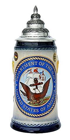 US Navy Beer Stein Bald Eagle German Beer Stein - Navy Stein