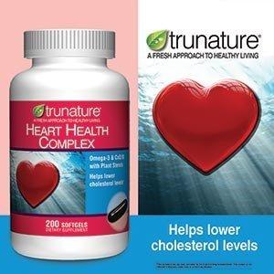 Heart Health Trunature Complexe Oméga-3, la CoQ10, et stérols végétaux 200 gels mous, un produit tout-en-un qui agit comme un cardio-vasculaire, d'une formule anti-inflammatoire et antioxydant