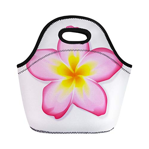Semtomn Lunch Bags Spa White Hawaiian Pink Frangipani Plumeria Flower Yellow Exotic Neoprene Lunch Bag Lunchbox Tote Bag Portable Picnic Bag Cooler ()