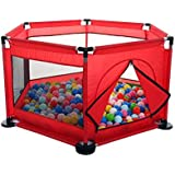 Foldable Baby Kids Playpen Activity Center Room Fitted Floor Baby Kids Safety Protection Care Playpen Tent Crawling Game Folding Fence Toys Red