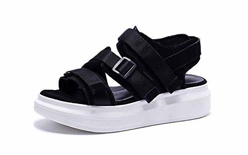 Mujer Velcro punta abierta sandalias 2018 primavera verano nuevo Moda fondo grueso plano Zapatos plataforma Zapatos Black