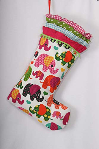 (Elephant Christmas Stocking Baby's First Christmas Kid's Christmas Stocking Stuffers 21inches Ruffle Pink Xmas)