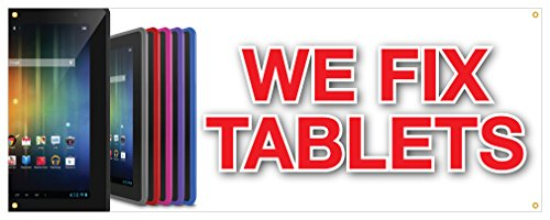 We Fix Tablets Banner iPhone Android Cases Battery Retail Store Sign 48x120 by cheapyardsigns
