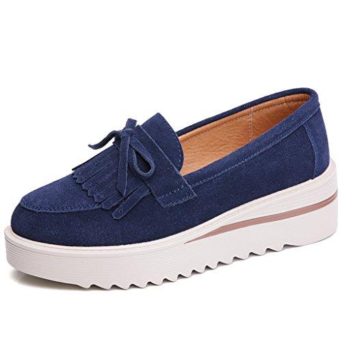 Leather Platforms Lambskin (GilesJones Flats Loafers Women,Classic British Suede Fringe Round Toe Slip On Platform Shoes)