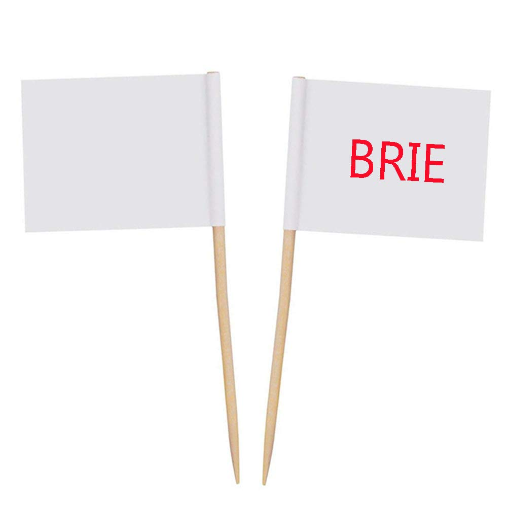 Zehhe Mini Blank White Flags 100Pcs Food Cheese Markers Labeling Picks for Cake Toothpicks Cupcake Decoration Fruit Cocktail Sticks Party Supplies