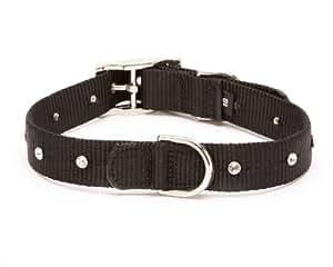 Nylon Webbing Swarovski Straight Dog Collar, Medium Size 11-14, Black