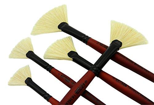 ZEM BRUSH Long Handle Stiff White Chungking Hog Bristle Fan Brush - Chungking Bristle Brush White