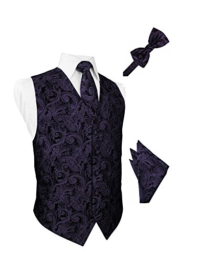 Lapis Tapestry Satin Tuxedo Vest with Long Tie Bowtie and Pocket Square Set