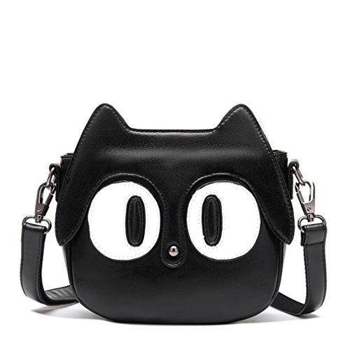 FAIRYSAN Bolsa de mensajero de cuero con diseño de gato Bolso cruzados para mujer Negro negro