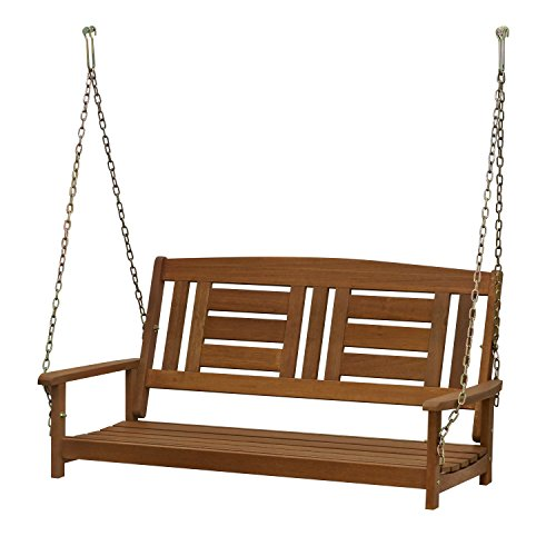 Furinno FG16409SC Tioman Hardwood Patio Furniture Hanging Porch Swing with Chain, 2-Seater Without Frame