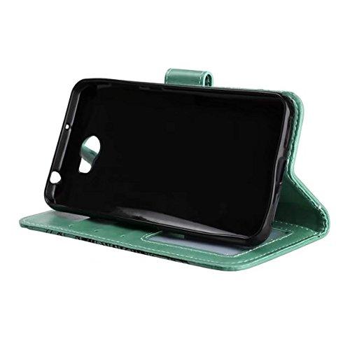 YHUISEN Huawei Y5 II/Y6 II Compact Caso, Diseño de media flor en relieve [correa de muñeca] Premium PU cuero cartera bolsa Flip Stand caso para Huawei Y5II/Y5 2/Y6II Compact ( Color : Black ) Green
