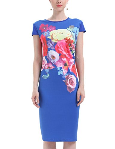 line Midi A Women Oversize Summer Blue Coolred Party Dress Patterned OPqaRcw