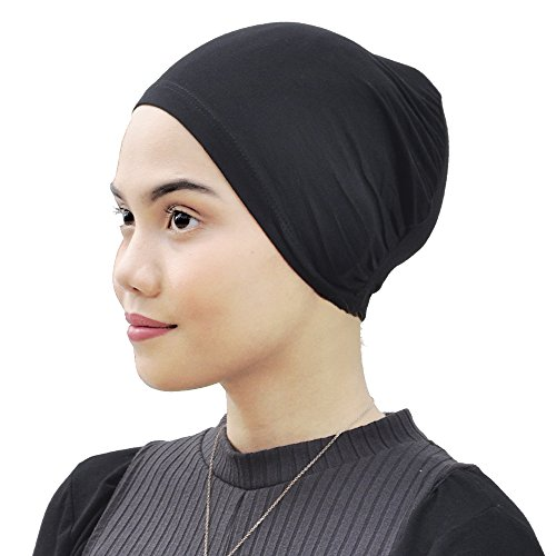 Silk Story Cotton Jersey Turban Hair Cover Under Scarf Shawl Hijab Cap Bonnet Cap Instant (Black)