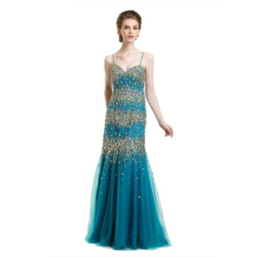 Evening Floor Dresses Blue Women's Sheath Length Column Dearta Sweetheart Tulle 8qZwgI00F