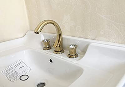 GKCSty The new white Wei Zhuang three-hole gold paint surface basin faucet hot and cold 3-piece split