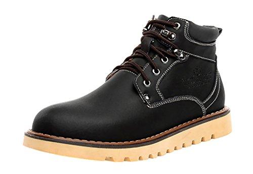 HTARCO Men's Fashion Breathable Work Utility Cowhide Leather Shoes(9D(M)US,black)