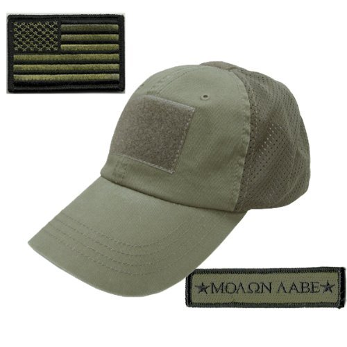 Velcro Patch Baseball - Operator Cap Bundle w/USA & Molon Labe Patches (Mesh Olive Drab)